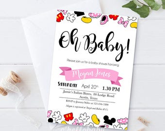 Personalized Disney Theme Oh Baby Baby Shower Invitation Cards   Disney  Baby Shower   Gender Neutral