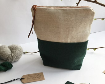 FOREST (small) - Knitting project bag / Zipper project bag / Zipper pouch / Project bag / Project bag for knitting