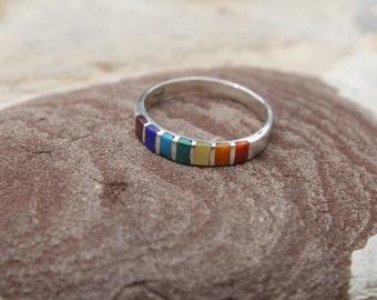 Chakra colors stone Silver Ring - Chakra ring - Silver Jewelry - Peruvian Jewelry - Handmade in Peru - Yoga - Spiritual Silver Jewelry