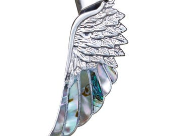 Silver Feather Pendant - Abalone shell - Feather Jewelry - Peruvian Jewelry -  Silver Feather - Chakra color stones - Peruvian Pendant
