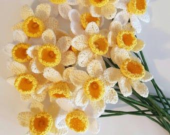 Crochet daffodils, spring flowers
