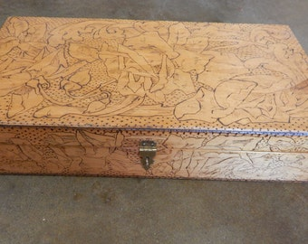 Pyrography Rose Pattern Wood Box