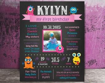 Monster Fun First Birthday Board