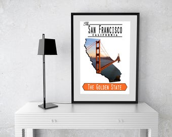 San Francisco California Print, Wall Poster, Bridge, Golden Gate Bridge, Day, Sunset, Red and Gold, 49ers
