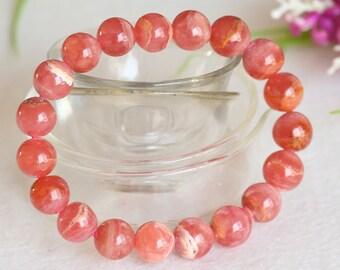 Genuine Natural  Argentina Pink Red Rhodochrosite Stretch Bracelet Round 10mm Beads 04396