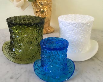 Vintage Fenton Daisy and Button Glass Hat Vases Set of Three Milkglass Green Glass Blue Glass Collectable Fenton Glass