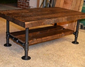 Superb Reclaimed Solid Wood U0026 Iron Pipe Coffee Table
