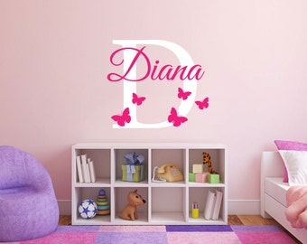 Personalized Name With Butterflies and Initial Nursery Baby room wall decal girl available in 7 different sizes and 30 different colors 019