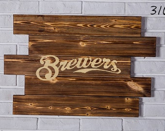 Milwaukee Brewers Wood Sign Milwaukee Brewers Wall art Milwaukee Brewers Gift Milwaukee Brewers Birthday Milwaukee Brewers Party wooden