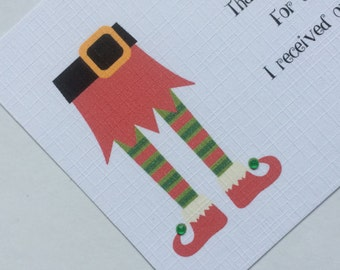 10 x Elf Legs Childrens Personalised Christmas Thank You Cards