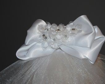 Communion Headpieces- White satin bow with floral detail with crystals