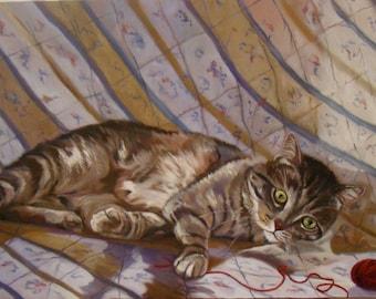 Ghibli, portrait of a grey domestic cat