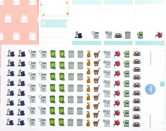 110 Housework Planner Stickers | Cleaning Stickers | Laundry Stickers | Journal Stickers | Diary Stickers - Erin Condren, Happy Planner