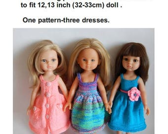 Knitting pattern dress with pockets. PDF. Fits for dolls Paola Reina, Corolle Les Cheries, Antonio Juan Munecas, Dianna Effner.