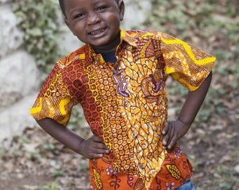 Little Boys Shirt /Ankara Print Boys Shirt / African Print Boys Shirt/