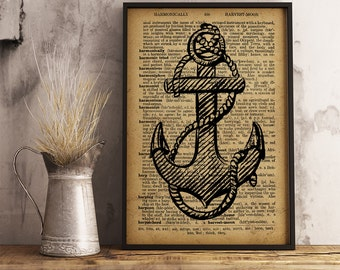 Anchor Print, Anchor Wall Art, Nautical Wall Art, Gift for sailor, beach decor, Nautical Decor Anchor Dictionary Print, Boy room decor (K24)
