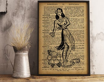 Vintage hula dancer Print Hawaiian woman dancer Vintage style dictionary print wall hanging Tropical Print summer house decor (PB03)