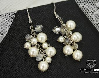 Wedding Pearl Earrings, Bridal Pearl Earrings, Handmade Pearl Earrings, Jewelry Earrings, Handmade Jewelry, Wire Earrings