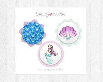 Mermaid badges trio