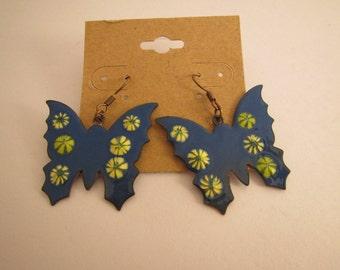 Copper Enameled Butterfly Earrings