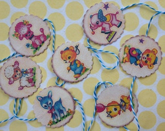 Vintage Baby Animal Garland/Baby's Room Vintage Style Garland/Nursery Decorations/Vintage Style Nursery Garland/Retro Garland/10 Feet Long