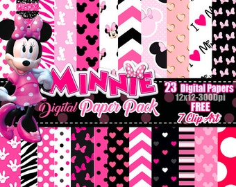 Minnie Mouse Pink digital paper FREE Clip art, scrapbook papers, wallpaper, Minnie background, polka dots, Pink Black digital papers