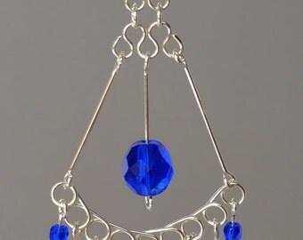 Chandelier Sterling Silver Earrings- Wire Wrapped Handmade