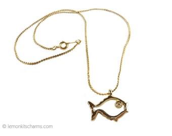 Vintage Fish Pendant Pendant Necklace, Jewelry 1970s, Gold Goldtone, Small Figural Animal, Sea Marine, Pisces, Rhinestone