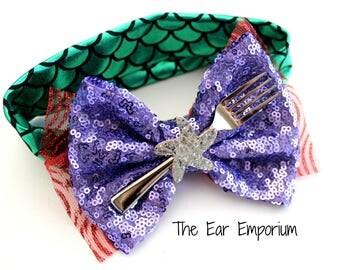 The Little Mermaid Ariel Inspired Baby Headband ~ Mermaid Scales Dinglehopper Starfish