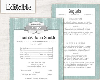 Baptism Program, Editable PDF, LDS Printable Digital Handout boy Baptism, Instant Download, Grey, green, Program Template