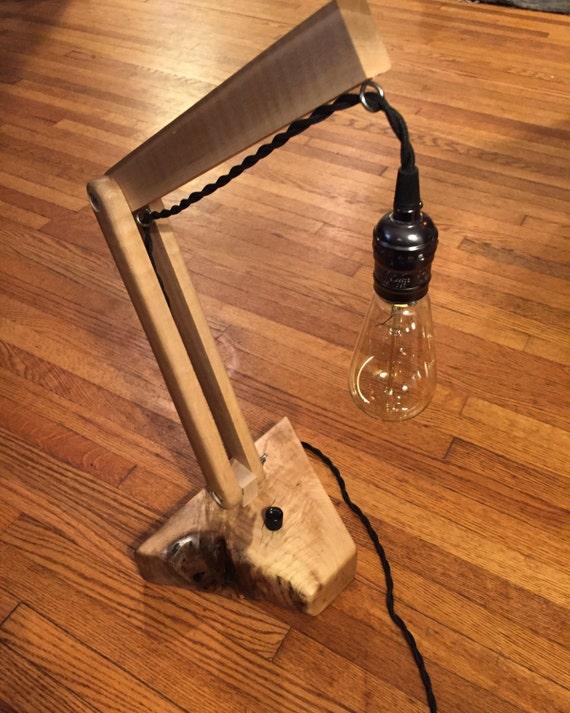 Live Edge Maple Wood Block Adjustsble Desk Lamp. Edison Bulb. Charlotte!