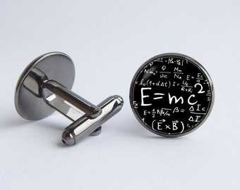 E=mc2 cufflinks Albert Einstein Formula cufflinks Theory of Relativity Teacher gift Emc2 jewelry Physics Science Professor gift Geekery