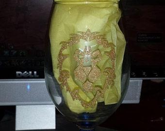 Alliance or Horde Symbol Glitter Wine Glass