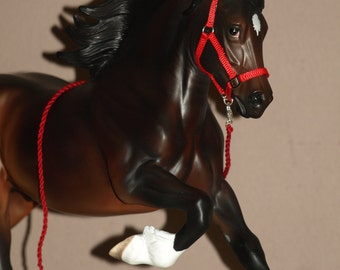 Made to Order 1:9 Scale 'Webbing' Headcollar and Matching Lead Rope - Traditinal Scale Breyer/Peter Stone Model Horse Tack