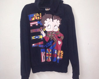 VINTAGE BETTY BOOP sweatshirt hoodie big logo Flag