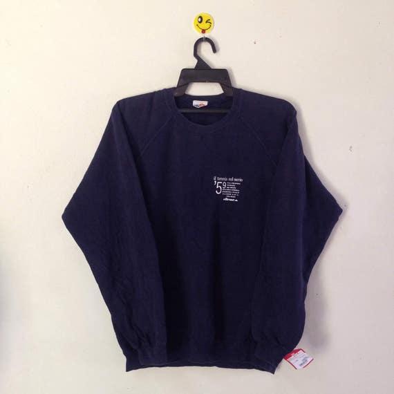 Vintage Ellesse Italia Sweatshirt Crew Neck Big Logo Spell Out Pull Over Blue Colour (D11) e53R86M