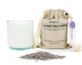 WILD LAVENDER {large glass} Coconut Wax Candle made with Wild French Lavender Essential Oil. 100% Natural with a Hemp Wick