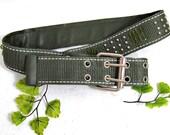 Women's green fashion belt - Boho belt - green casual belt -  green belt, Women's woven belt, medium belt, waist 28 to 32 - # B6