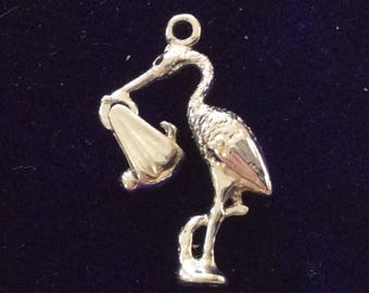 Sterling silver articulated mechanical stork with new born baby charm vintage # 1129