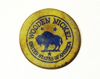 "Vintage Wooden Nickel USA, Saint Mary's, Ohio ""SESQUICENTENNIAL 1823-1973"""