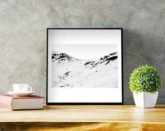 Landscape photography, Original photo, Mountains, Snow, Wall art, Digital print, Downloadable art, Printable poster, Home decor, Photo, B&W