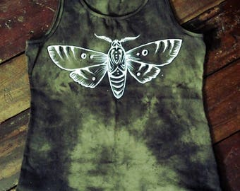 Hand dyed hand painted moth camo green tank top size XL