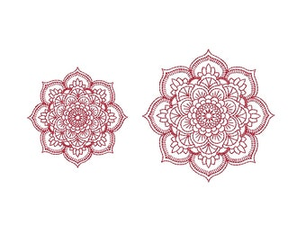Mandala Redwork Machine Embroidery Design. 2 sizes. Instant download