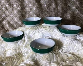vintage bowls mid century shenango china bowls green white set of five chinaware set of bowls green bowls serving bowls