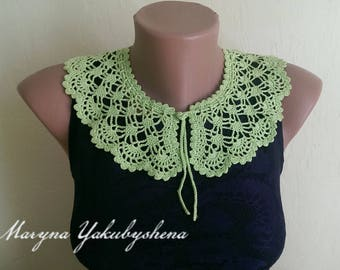Green crocheted lace collar necklace Necklace crocheted Lace collar dress Romantic collar Necklace Women accessory Gift Elegant collar