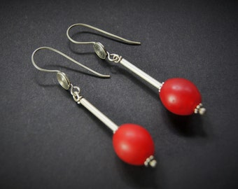 Old Mali Trade Bead Sterling Silver Earrings E 049