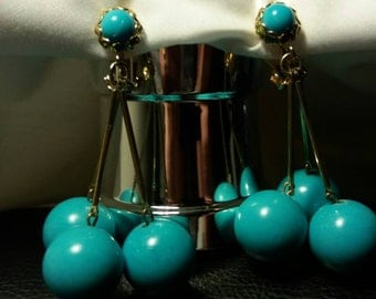 Vintage Apx. 1950s Teal Blue Chandelier Clip On Earrings