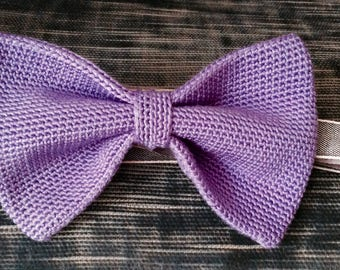 Knitted bow tie 100% silk, lilac, pastel
