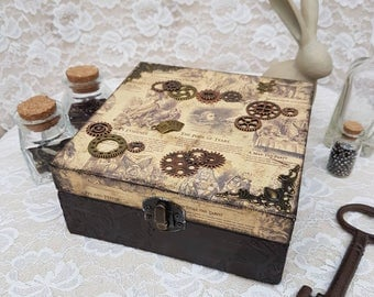 Alice in Wonderland Steampunk brown gold cogs wooden trinket/ jewellery box