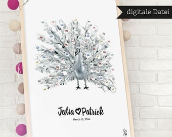 Alternative guestbook / personalized fingerprint wedding tree guest book / peacock / Printable Wedding Sign / Poster / DIGITAL FILE
